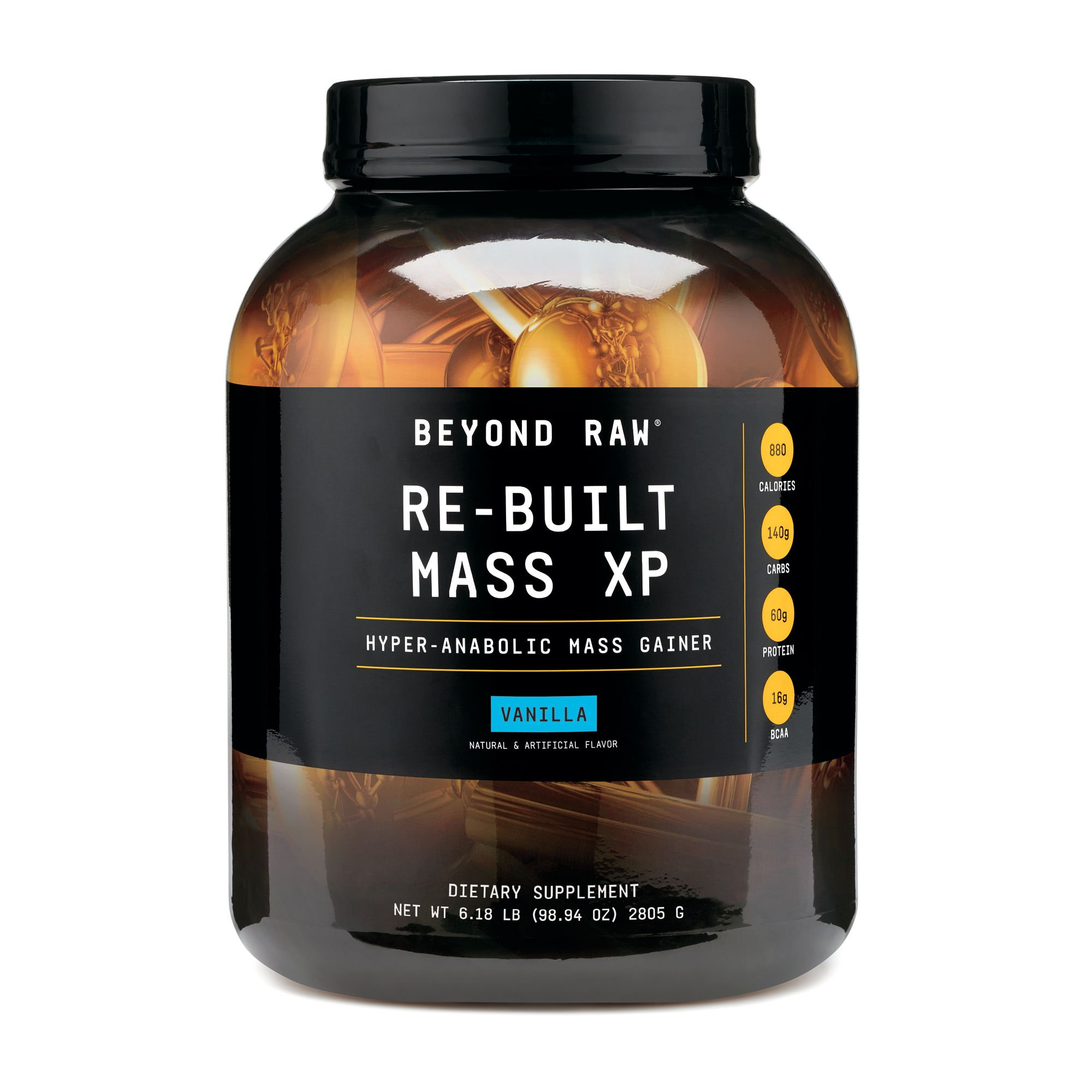 Beyond Raw Re-Built Mass XP Vanilla, 6 lbs, Contains 880 Calories, 140g Carbohydrates and 60g Protein Per Serving by BEYOND RAW (Image #1)