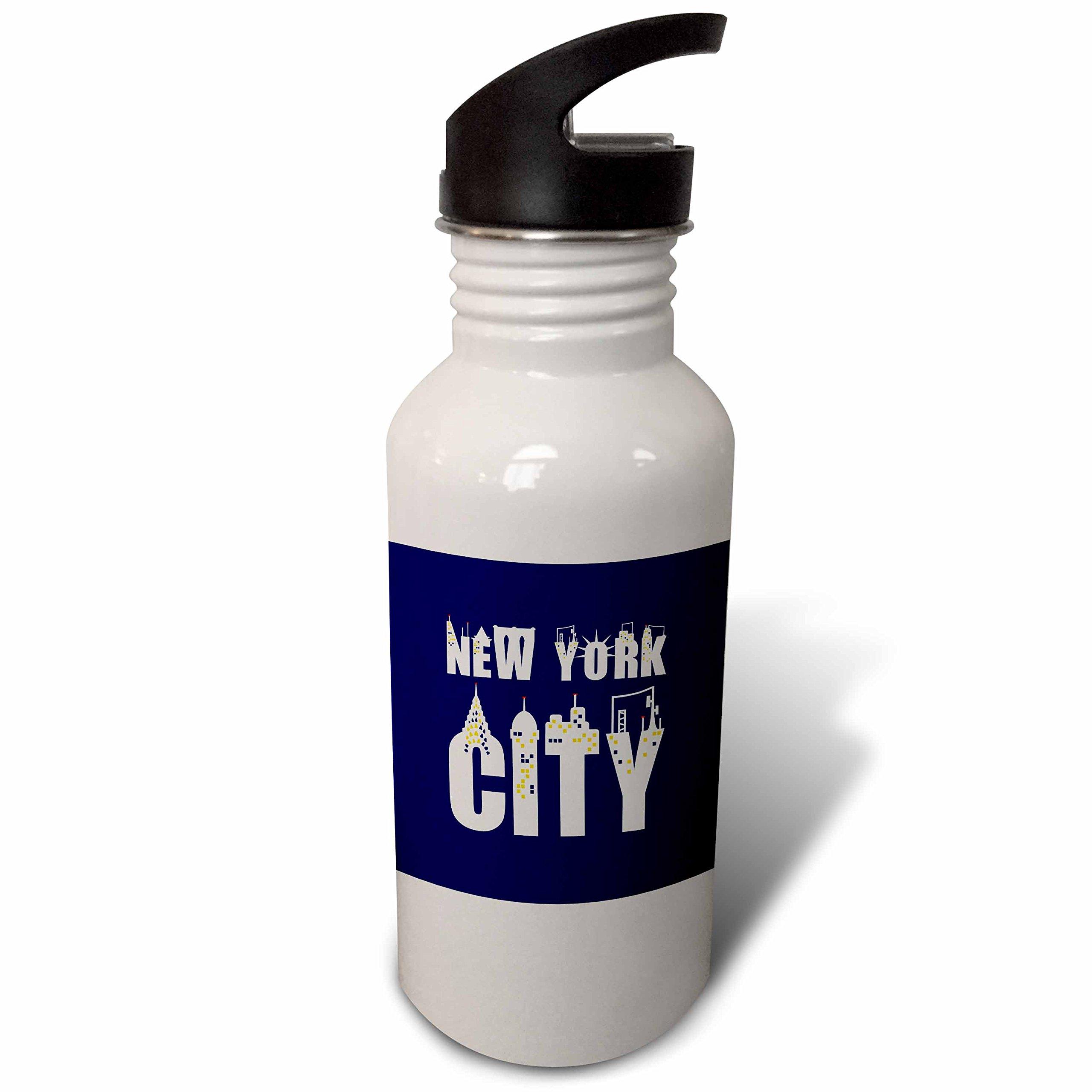 3dRose Alexis Design - American Cities - Elegant text New York City, landmarks, shining windows on blue - Flip Straw 21oz Water Bottle (wb_286455_2)