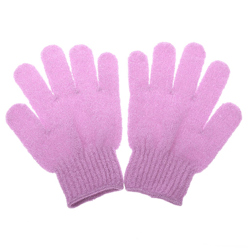 1 Pair Shower Exfoliating Wash Skin Spa Bath Gloves Massage Clean Hygiene Gloves - Purple Generic