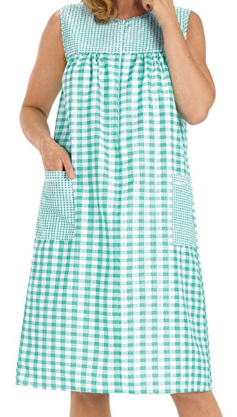EZI Women's Sleeveless Zipper Gingham House Dress/ House Coat/ Duster/  Lounge Dress at Amazon Women's Clothing store: