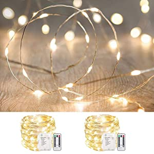 ANJAYLIA 2 Pack 33ft 100 LED Fairy Lights Battery Operated, Waterproof Twinkle String Lights, Copper Wire Dimmable Firefly Lights with Remote Control Timer, Warm White