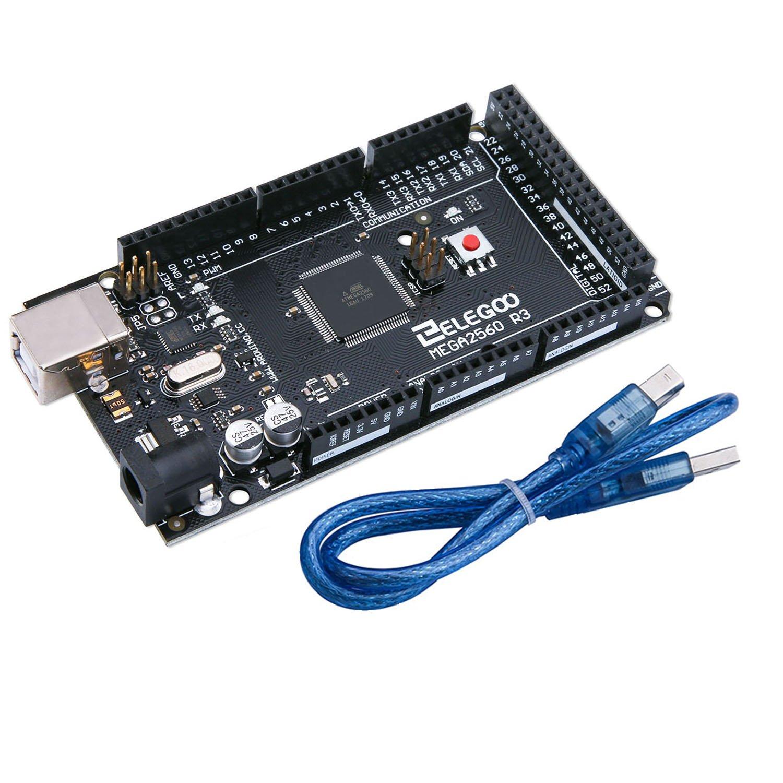 Elegoo MEGA 2560 R3 Circuit imprimé ATmega2560 Atmega16U2 IT-EL-CB-002 Câble USB compatible avec Arduino Black Nero