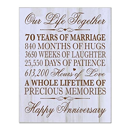 70th Wedding Anniversary.70th Wedding Anniversary Wall Plaque Gifts For Couple Parents 70th For Her Him 70th Wedding For Him 12 Wx 15 H Wall Plaque Distressed White