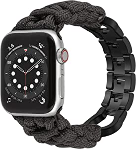 Moolia Paracord Watch Band Compatible With Apple Watch 38mm 40mm for iWatch Series 6 5 4 3 2 1 SE, Men Handcrafted Braided Paracord Sport Replacement Strap With Stainless Steel Buckle, Gray