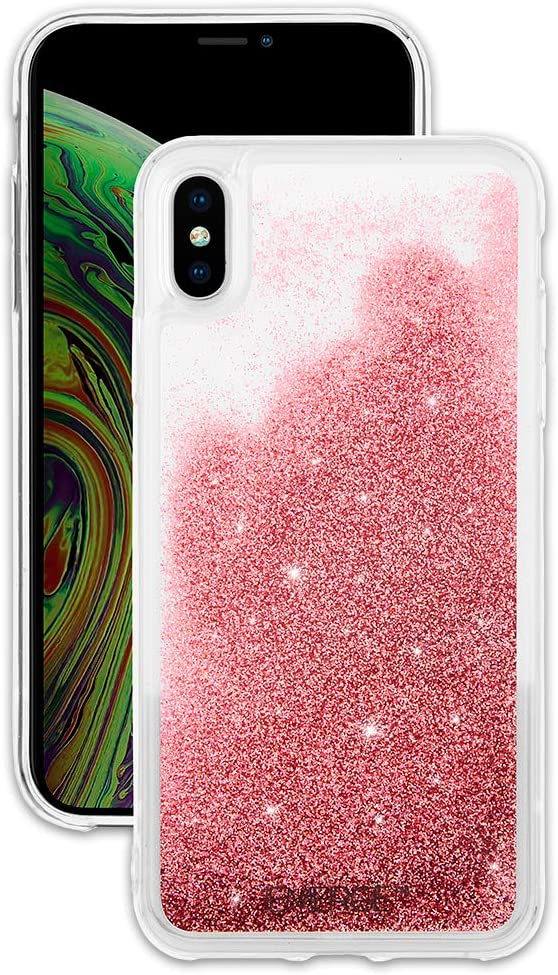 EMERGE SNOW GLOBE iPhone XS Max Glitter Cell Phone Case - Flowing Liquid Glitter Pink