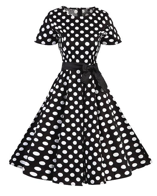 50s Vestidos Vintage Retro Rockabilly Clásico XL Punto Negro Blanco