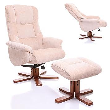 The Shangri La   Chenille Fabric Swivel Recliner Chair In Beige