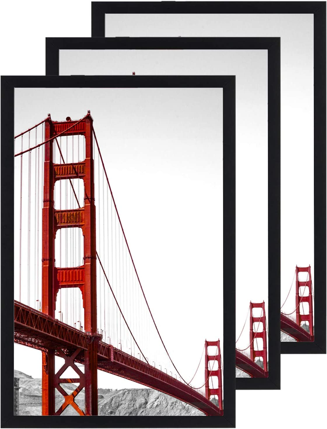 11x17 Frame Black 3 Pack, Solid Wood Picture Frame with Plexiglass, Poster Frame 11x17