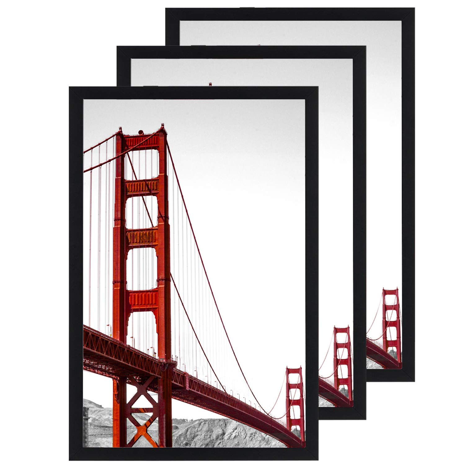 11x17 Frame Black 3 Pack, Solid Wood Picture Frame with Plexiglass, Poster Frame 11x17 (11 x 17 Frame,3 Pack)