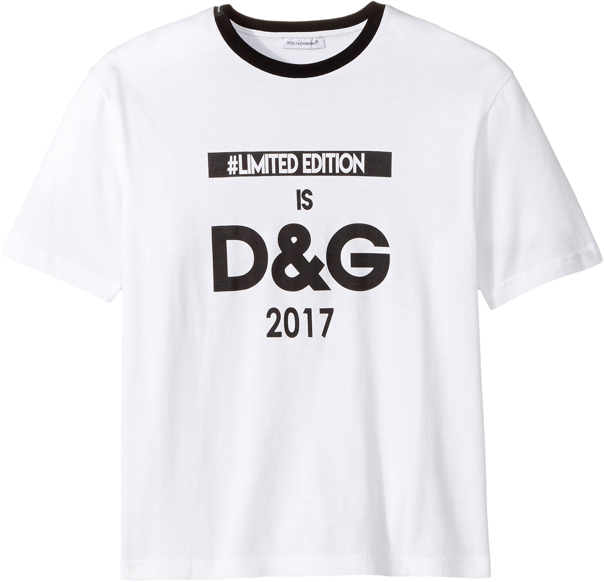 Dolce & Gabbana Kids Girl's Logo T-Shirt (Big Kids) White Print T-Shirt