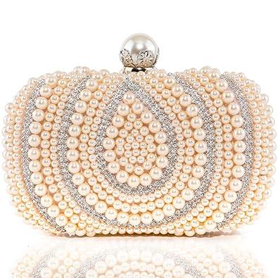3d7a9b975f Womens Evening Clutch Bags Rhinestone Artificial Pearls Beaded Handbags  Bridal Wedding Party Purse Champange