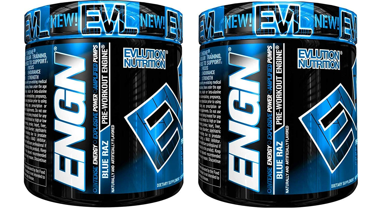 Evlution Nutrition ENGN Pre-Workout, 30 Servings, Intense Pre-Workout Powder for Increased Energy, Power, and Focus (Blue Raz) Pikatropin-Free (2 Container Pack) by Evlution (Image #1)