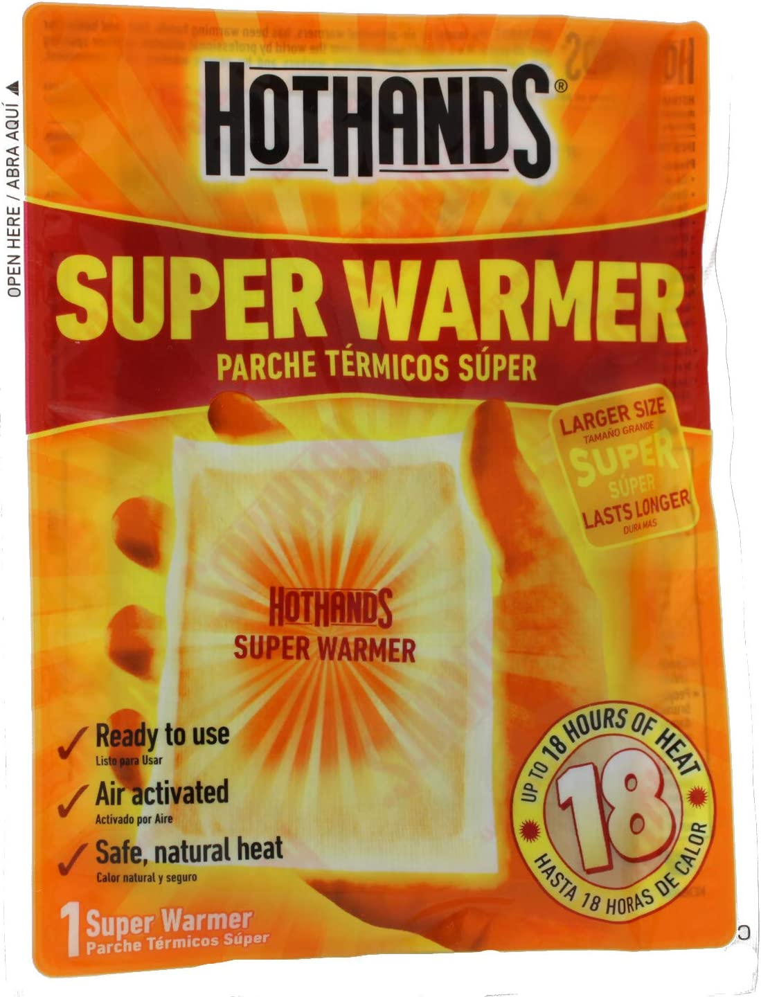 20 count HotHands Body /& Hand Super Warmers 18 Hours  New Super Size Package