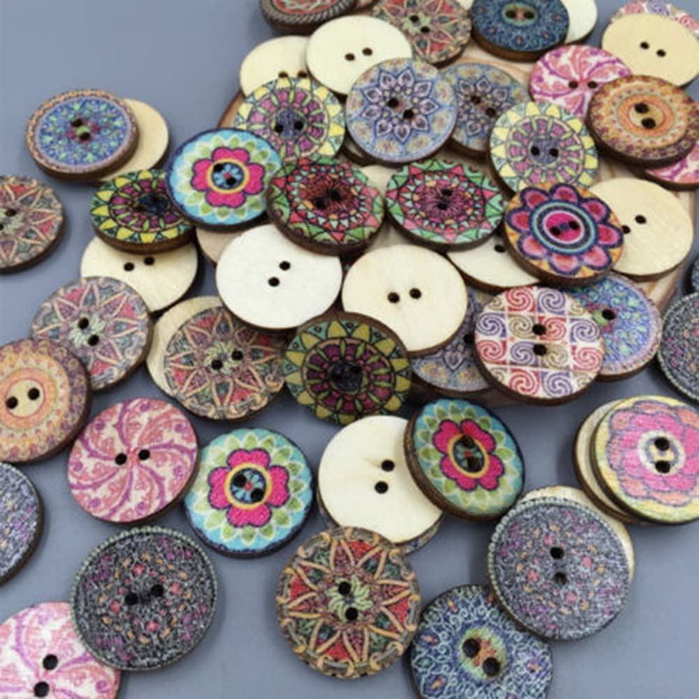 Hottest 100Pcs Wooden Flower 2 Holes Sewing Decorative Scrapbooking Buttons