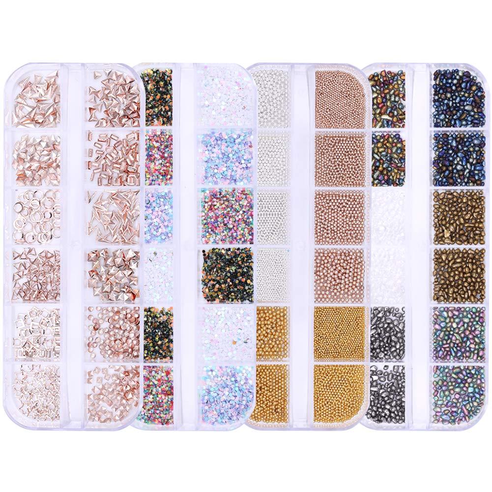 NICOLE DIARY 4 Boxes Nail Rhinestones kit Multi-size Gems Metal Nail Rivets Studs Colorful Nail Art Decoration Set (set 2)