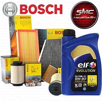 Kit Tagliando 4 filtros originales Bosch + Aceite Elf 5 Lt 5 ...