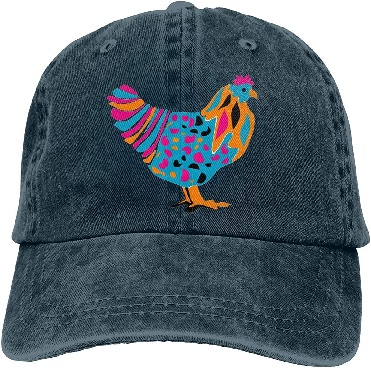 Mens and Women Unisex Funky Bright Chicken Twill Washed Dyed Adjustable Baseball Cap Dad Hat