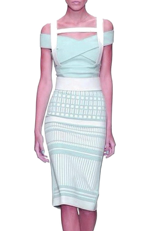 Celebritystyle ice blue off shoulder 2pc bandage dress