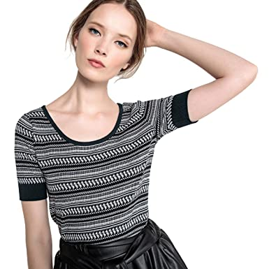 La Redoute Womens Short-Sleeved Jacquard Jumper Sweater at Amazon Women s  Clothing store  68f8d1cf0921