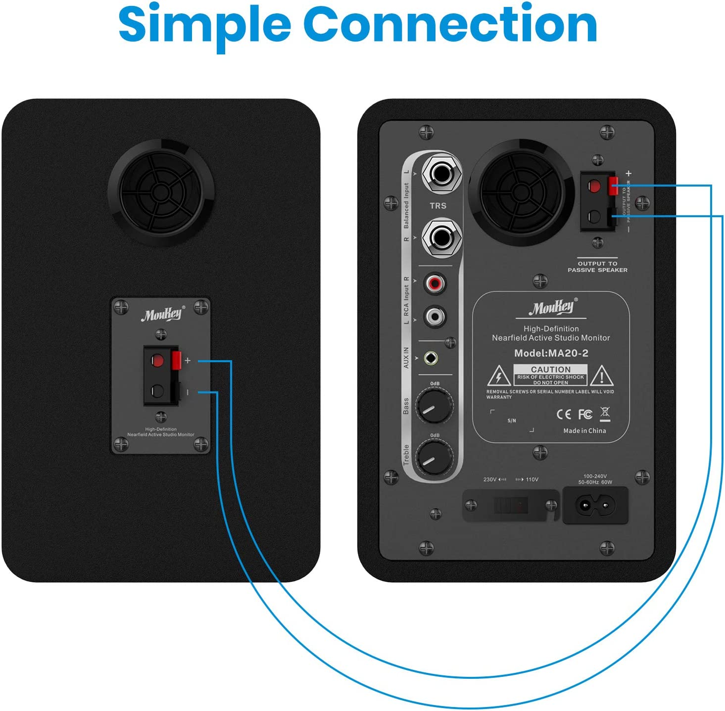 2-Pack Including Studio Monitor Isolation Pads Moukey Studio Monitor 3.5 Near Field Studio Monitors Powered Speakers with Professional CSR Bluetooth