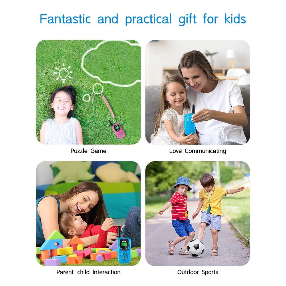 BATURU Walkie Talkies for Kids 3 Pack, 2 Way Radio Toy Walkie Talkie, 3 4 5 6 7 8 9 Year Old Toy Boys and Girls, Walky Talky Long Range (Blue+Pink+Yellow) by BATURU (Image #5)