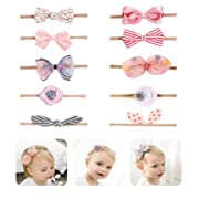 Baby Girl Headbands flowers,10 Pack Hair Bows Accessories for Newborn Infant Toddler Gift by Fancy Clouds (pink bow)