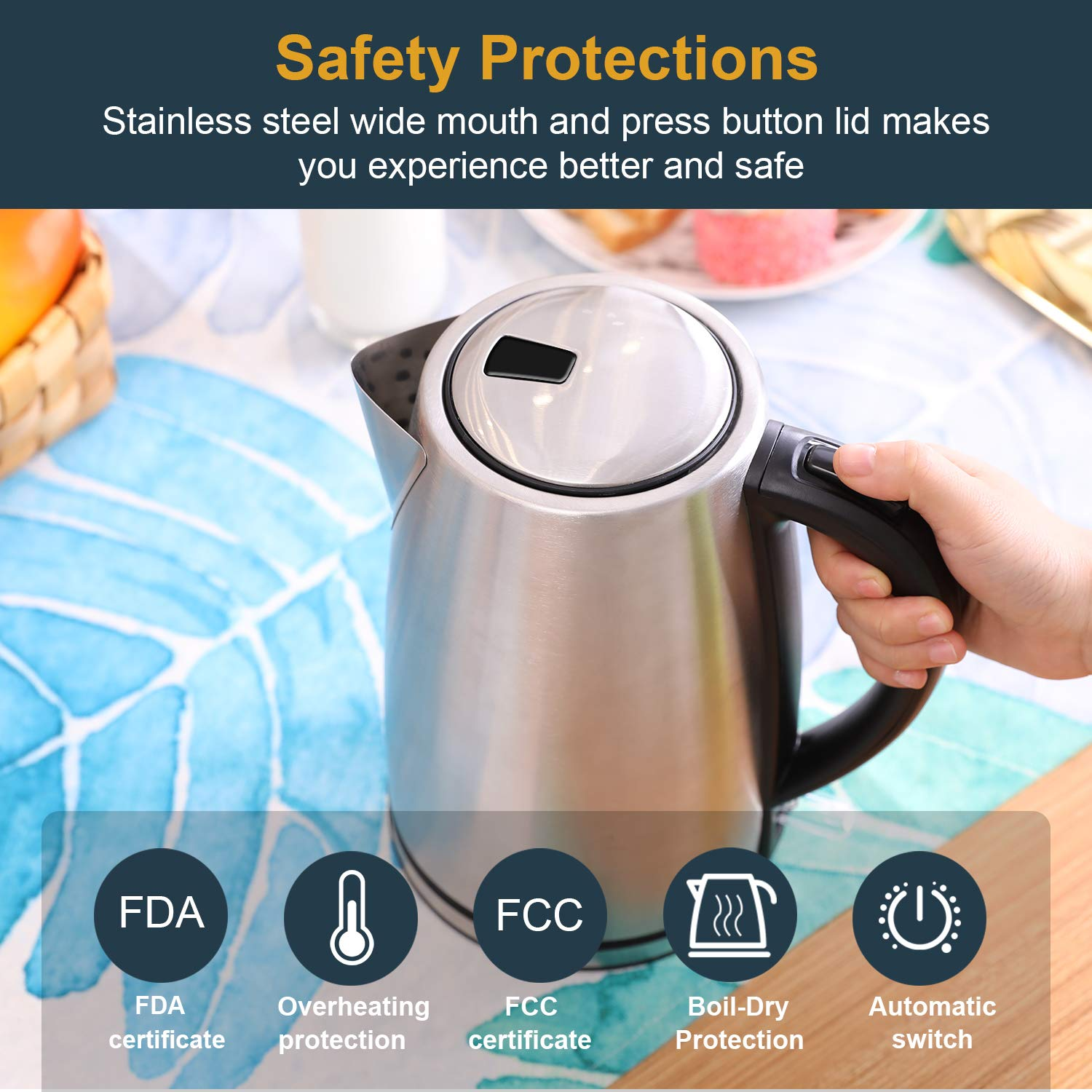Electric Kettle - 1.7 Liter 304 Stainless Steel Hot Water kettle - Coffee Pot & Tea Kettle - Auto Shutoff and Boil Dry Protection, Cordless, FDA/FCC Approved by Weftnom (Image #3)