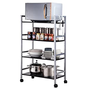 SINGAYE 4-Tier Shelving Unit Kitchen Rack Storage Cart with Easy Moving Wheels,Adjustable Microwave Storage Shelf Rolling Cart on Square Tube,55 lbs Weight Capacity, Silver