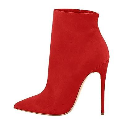 EDEFS Damen Stiefel,Kurzschaft Stiefeletten,Reißverschluss Stiefel 12cm  Absatz,Spitze Winter Boots Rot 28a6f16921