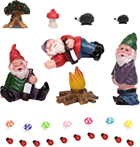 25pcs Miniature Garden Gnomes Set Fairy Garden Figurines Accessories Drunk Gnomes Kit Fairy Resin Ornaments for Outdoor or House Decor (25 pcs)