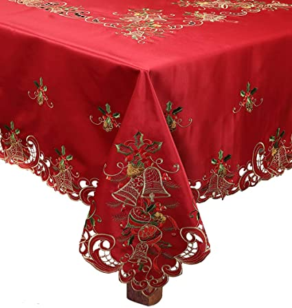 creative linens holiday christmas tablecloth 68 square with 8 napkins embroidered bell ornament pine cone - Square Christmas Tablecloth