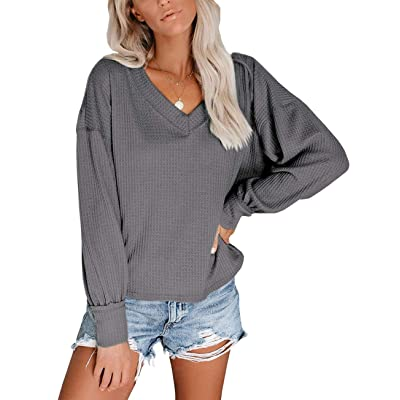 LOOKBOHO Womens Solid Color Waffle Knit Sweater Pullover Blouse Long Sleeve Shirt at Women's Clothing store