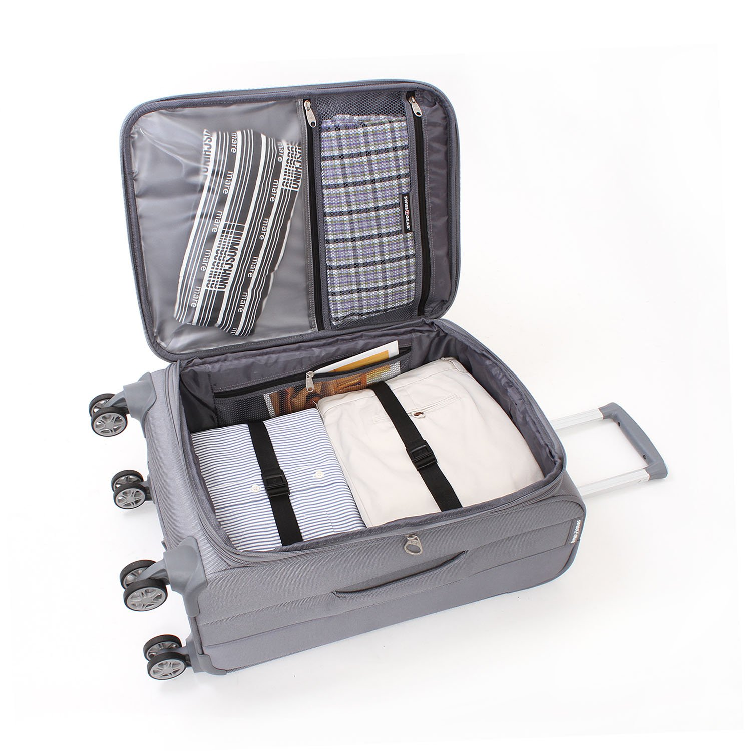 Swissgear Baden 20 Quot Expandable Spinner Suitcase Silver
