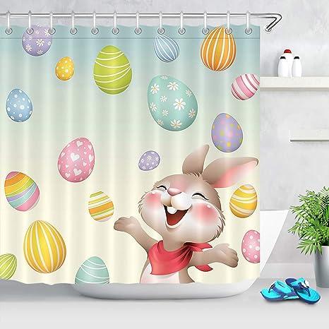 Easter Eggs Cartoon Cute Little Chick Fabric Shower Curtain Set Bathroom Decor
