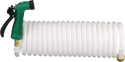 "Boat Marine Coiled Washdown Hose With Sprayer 1//2/"" Diameter X 25/' Length"