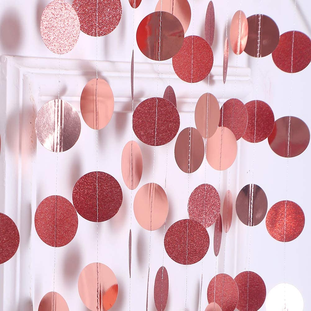 52Ft Rose Gold Birthday Party Decoration Paper Circle Dots Garland for Wedding Decoration Hanging Round Streamers for Baby Shower/Graduation/New Year/Engagement/Hen Party Xmas Home Ceiling/Window