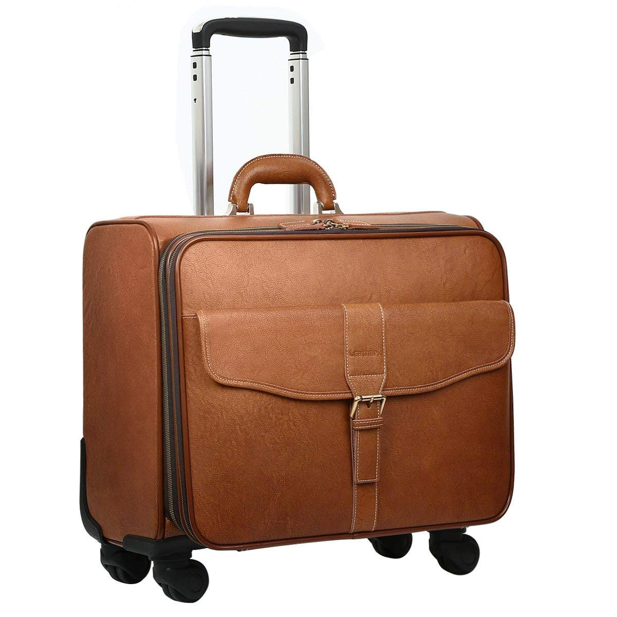 c68784138b2c Amazon.com | Leathario Leather Rolling Laptop Case Wheeled Briefcase  Suitcase Roller Boarding | Travel Duffels