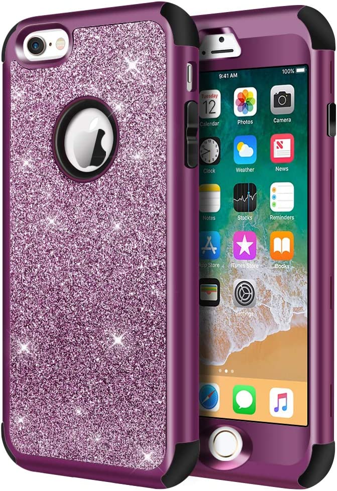 Hython Compatible with iPhone 6/6s Case, Heavy Duty Full-Body Defender Protective Case Bling Glitter Sparkle Hard Shell Hybrid Shockproof Rubber Bumper Cover for iPhone 6 and 6s 4.7-Inch, Purple