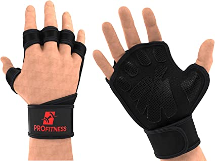 Gym Gloves with Wrist Support Anti-Slip Silicone Palm for Exercise Gloves for Powerlifting Fitness Cross Training,and Bodybuilding,Ideal for Both Men /& Women