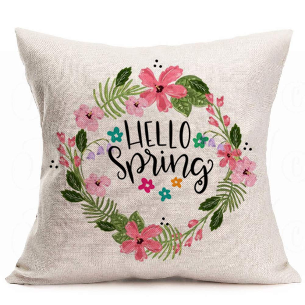 Hello spring pillow cover #affiliate #ad