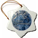 3dRose orn_52281_1 Happy Chrismukkah Blue and Silver Ornament and Menorah-Snowflake Ornament, Porcelain, 3-Inch