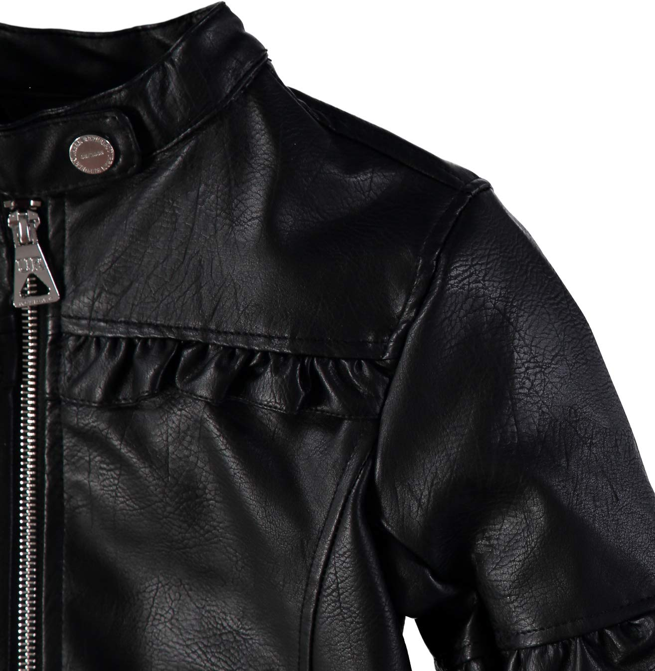 Urban Republic Girls' Faux Leather Ruffle Moto Jacket (Black, 7/8) by Urban Republic (Image #3)
