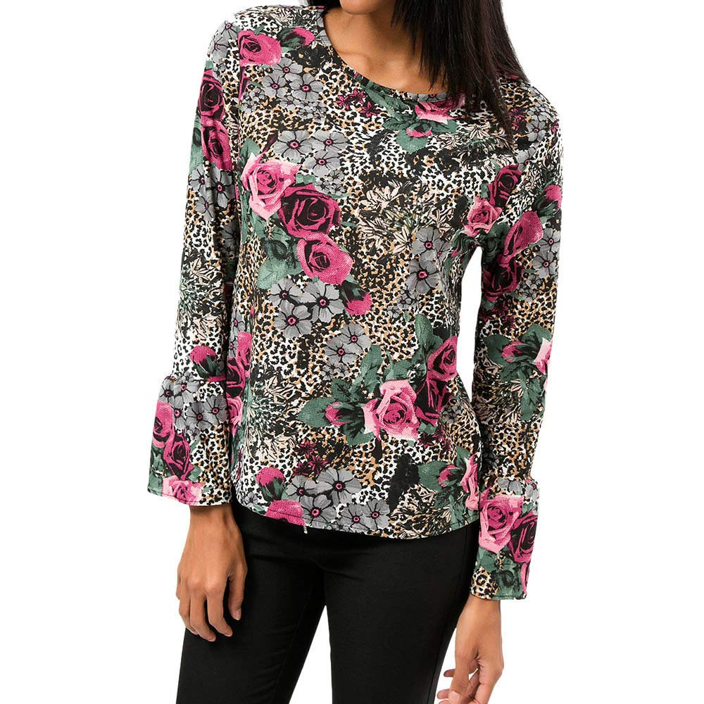 SamMoSon Blouses for Women Long Sleeve Casual Floral Top T-Shirt Blouse 8317595859
