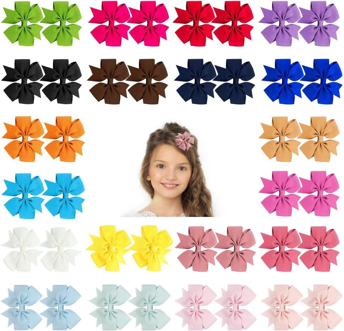 URAQT Lazos Pelo Niña, Lazos de Grogrén, Multicolor Clips Pelo, Clips de Pelo para Chica Horquillas Niña Bebé 40 Unidades