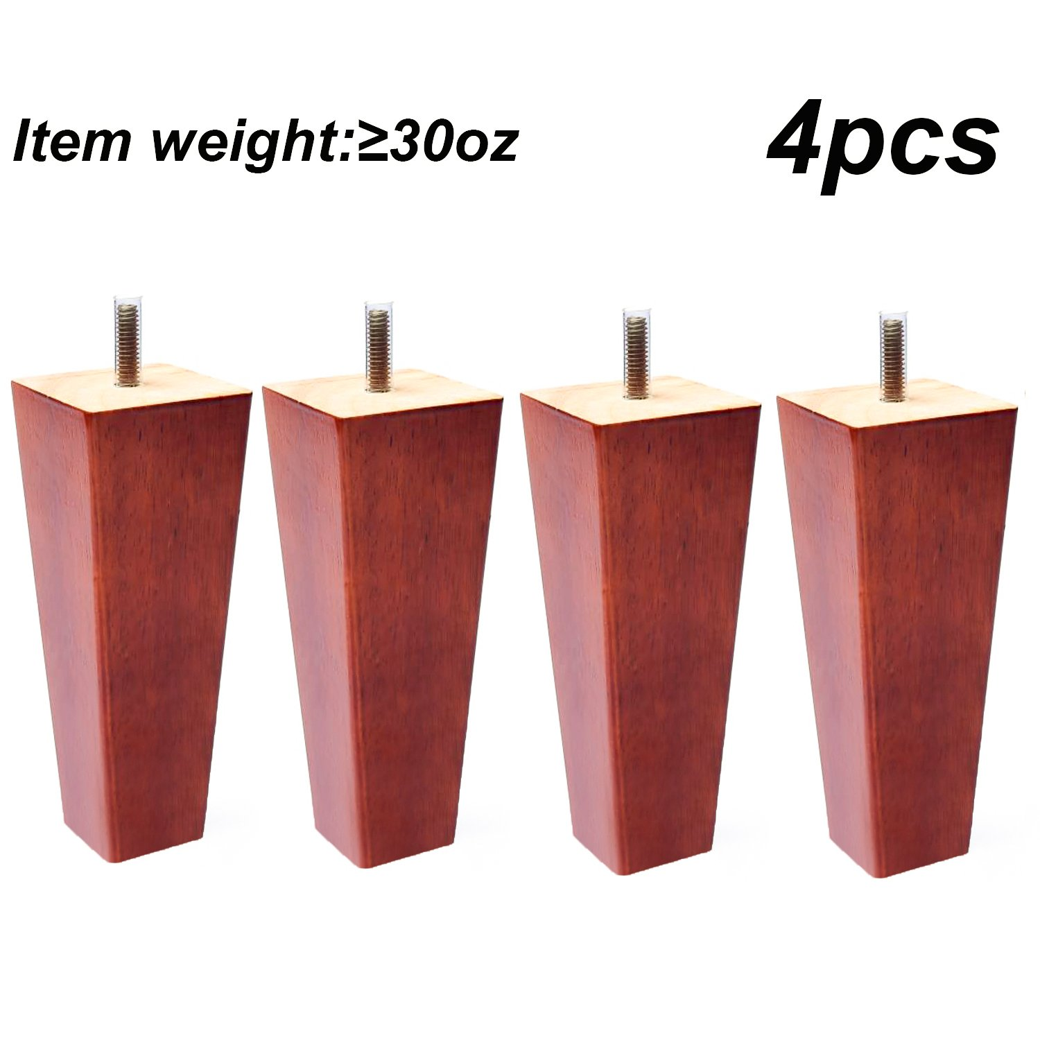 Sofa Legs Set of 4,Tapered 5 Inch Solid Wood Furniture Sofa/Chair/Couch/Loveseat Replacement legs Sweet Melodi SOFAL-009