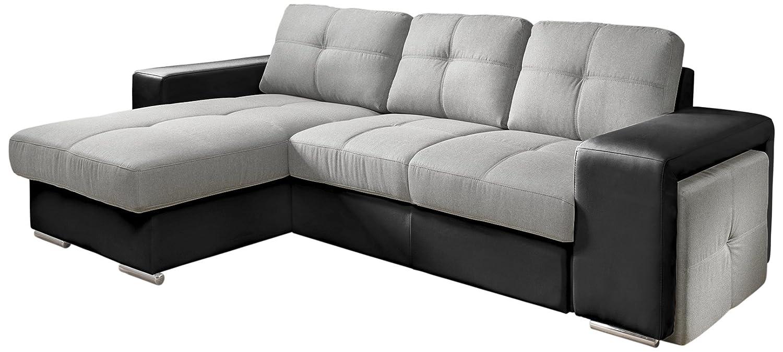 Cotta C209661 C311/H360 Polsterecke mit Schlaffunktion und Bettkasten, 157 x 278 cm, Kunstleder schwarz mit Strukturstoff grau