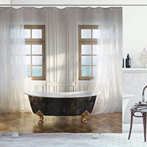 "Ambesonne Antique Shower Curtain, Retro Bathtub in Modern Room Interior Hardwood Classics Space Design, Cloth Fabric Bathroom Decor Set with Hooks, 70"" Long, Ivory White"
