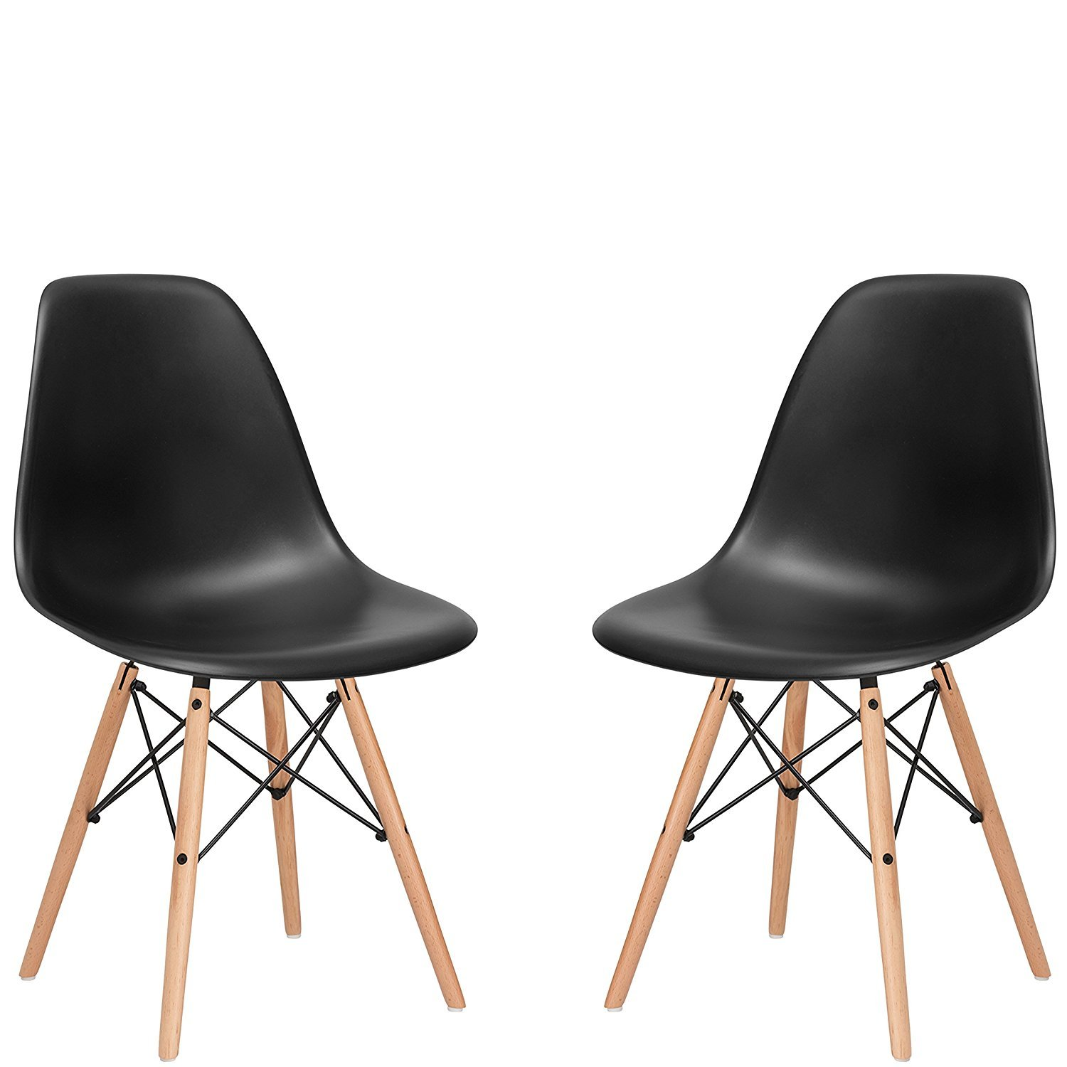 chair dining. nufurn eames style designer black dining/living room chair -set of 2 dining