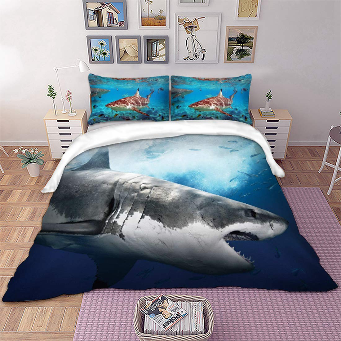 3D Shark Fish Bedding Duvet Cover Full 3 Piece Hawaiian Beach Theme Bedding Set Underwater Children Bedspread Cover Ocean Sea Themed Pattern Printed on Blue Comforter Cover for Kid Boy Girls Teen