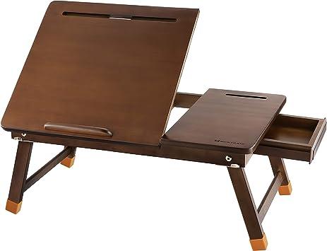 Bamboo Laptop Desk Adjustable Folding Notebook Bed Desk with Tilting Top Drawer